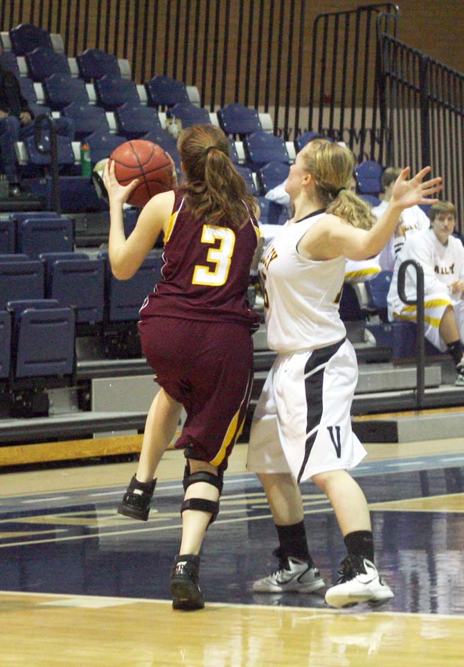 Megan McGinn blows past the Valley defense as she goes in for the layup early in 3rd period
