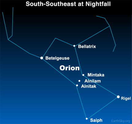 09dec27 430 Earthsky Tonight   Dec 27 2009, Bellatrix   Orions third brightest   means Female Warrior 