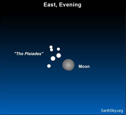 09dec28 430 Earthsky Tonight   Dec 28 2009 Moon glides by Pleiades on December 28