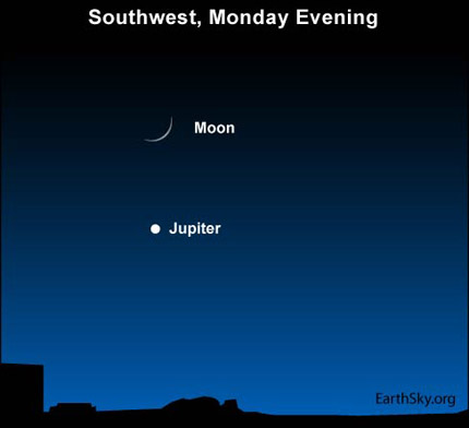 10jan18 430 Earthsky Tonight, January 18, 2010: Moon and Jupiter move eastward through the stars 