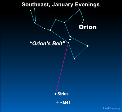 11jan10 430 Earthsky Tonight, January 11, 2010: Fuzzy object near Sirius is a star cluster
