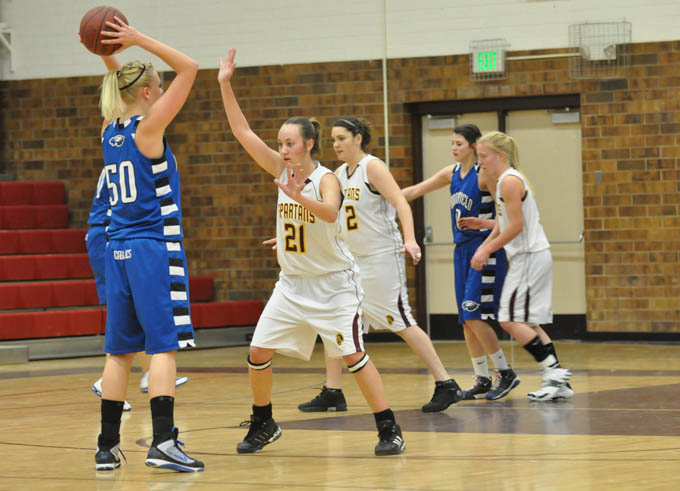 1523Despite the 5 inch height difference Kacey Fagler did an admirable job defending against Eagle Bre Burgesser Spartan Girls Basketball