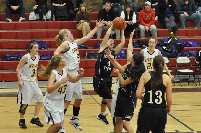 GBB Battle for rebounds1 Lady Spartans win in closing seconds