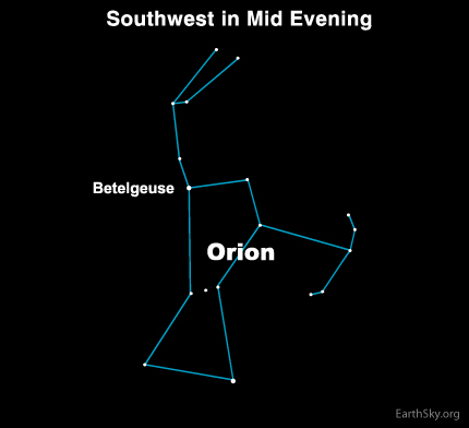 10feb03 430 Earthsky Tonight, February 3, 2010: Somber red Betelgeuse shines in the shoulder of Orion