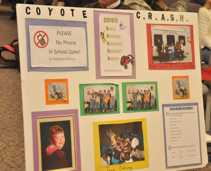 Coyote CRASH poster Thompson School Board: cell phones and swimming pools