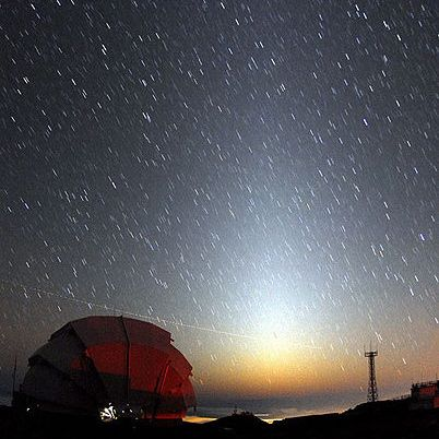zodiacal light 430 Earthsky Tonight, February 8, 2010: Zodiacal light is glowing pyramid in west after dark 