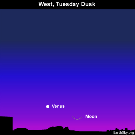 10mar16 4301 Earthsky Tonight — Young moon and Venus low after sunset