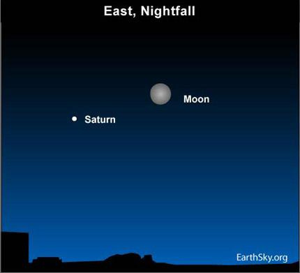 10mar28 430 Earthsky Tonight   March 28, 2010: Moon and Saturn from dusk until dawn