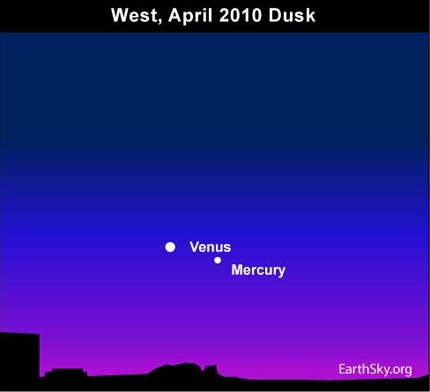 10apr08 430 Earthsky Tonight — April 8,  Mercury at greatest evening elongation