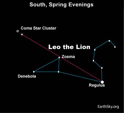 10apr12 430 Earthsky Tonight — April 12: Star hop from Leo to the Coma star cluster