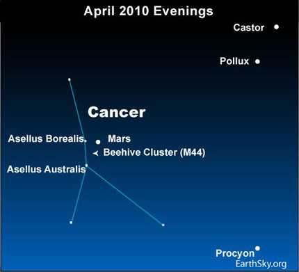 10apr13 430 Earthsky Tonight — April 13: Mars and Beehive cluster pair up in mid April