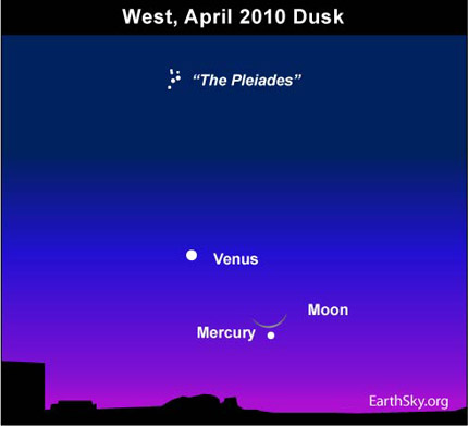 10apr15 430 Earthsky Tonight   April 15: Catch the moon and Mercury after sunset