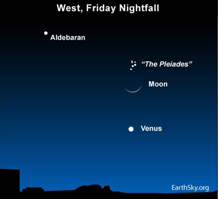 10apr16 430 Earthsky Tonight — April 16,  Moon between Venus and Pleiades
