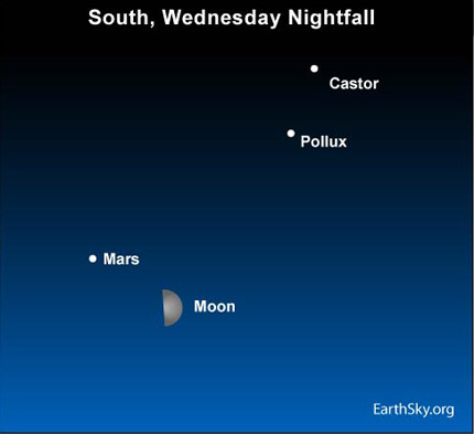 10apr21 430 Earthsky Tonight — April 21, Moon and Mars tonight, Lyrid meteors before dawn