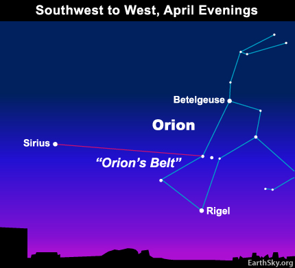 10apr30 430 Earthsky Tonight — April 30, Star hopping from constellation Orion