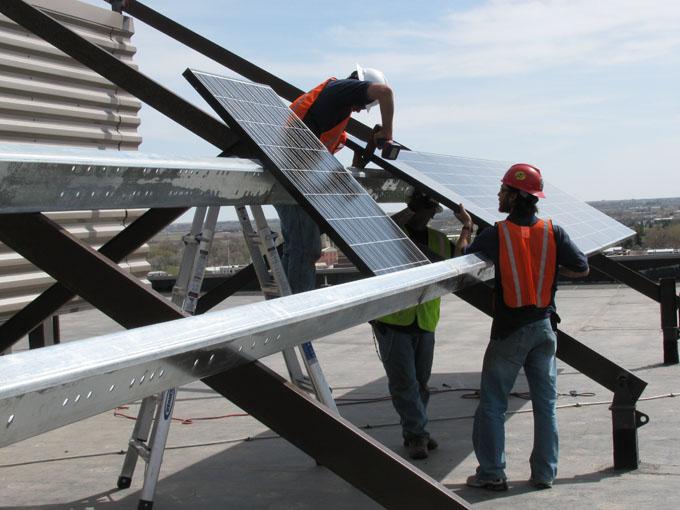 solarpanelsWorkers Install0410 004 Larimer County Installs Solar Panels!