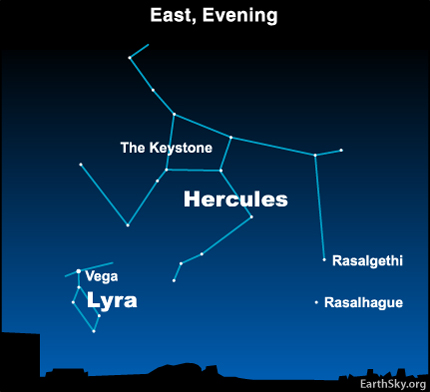 10may12 430 Earthsky Tonight—May 12, 2010 The constellation Hercules and The Keystone