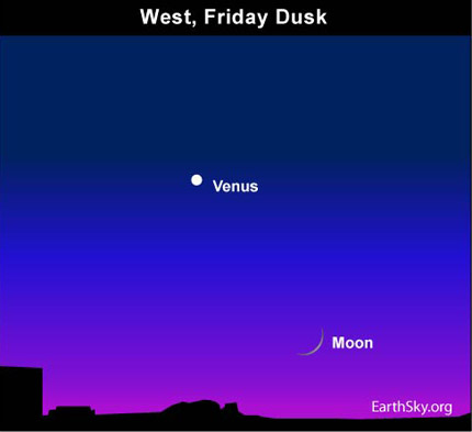 10may14 430 Earthsky Tonight—May 14, 2010 Spot the young moon below Venus