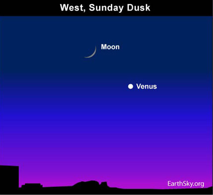 10may16 4301 Earthsky Tonight—May 16, Crescent moon near Venus