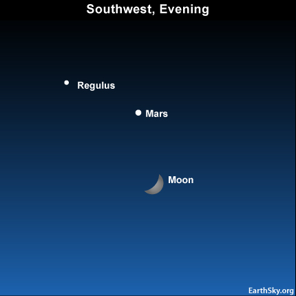 10may19 43011 Earthsky Tonight—May 19, Moon and Mars close together