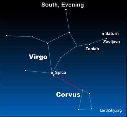 10may31 4301 Earthsky Tonight—May 31: Saturn 'stationary' in front of Virgo