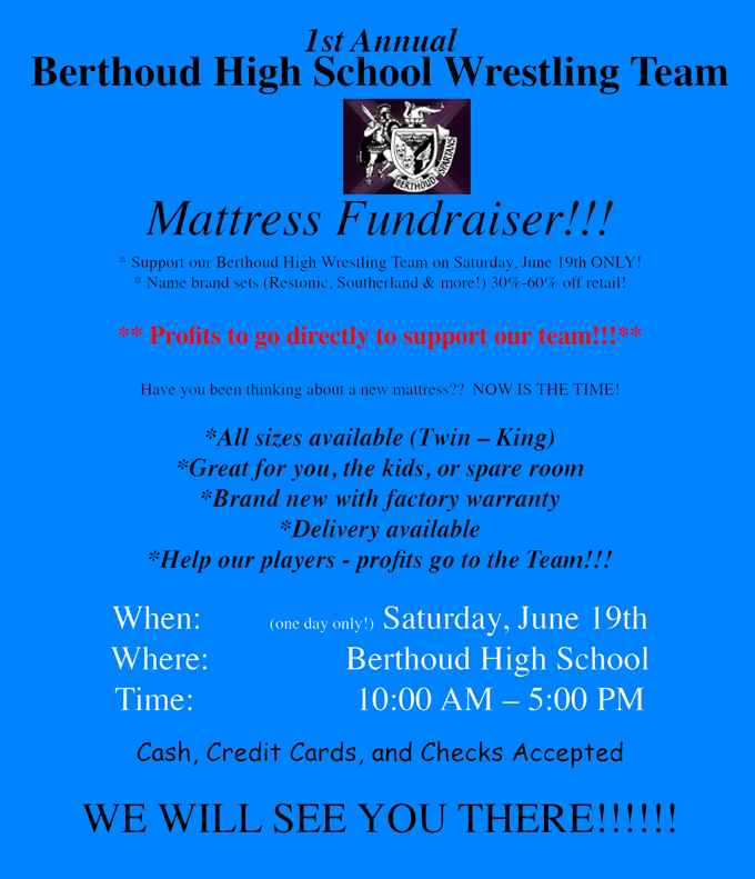 Wrestling club mattress 680 BHS Wrestling Team selling mattresses