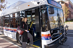 commuter boarding flex bus Take the bus from Berthoud to Fort Collins, Denver and Boulder