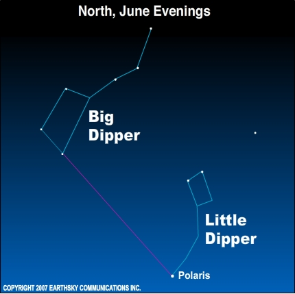 09jun01 430 Earthsky TonightJune 1: Big Dipper high in north on June evenings 