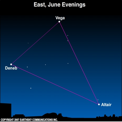 09jun10 430 Earthsky Tonight—June 10: Find the Summer Triangle ascending in the east