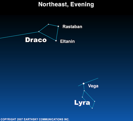 10jun04 430 Earthsky Tonight—June 4: Rastaban and Eltanin belong to constellation Draco