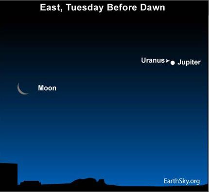 10jun07 4301 Earthsky Tonight—June 7: Closest two planets of 2010 on June 8, but one may require binoculars