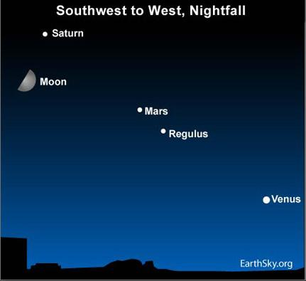 10jun18 430 Earthsky Tonight—June 18: A half moon Joins Saturn