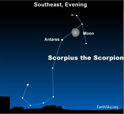 10jun23 430 EarthSky Tonight June 23: Waxing gibbous moon passes near Scorpions Heart 