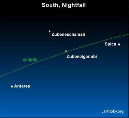 10jun29 430 Earthsky Tonight—June 29: Find the Libra stars between Antares and Spica