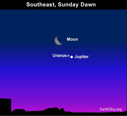 10june05 4301 Earthsky Tonight—June 5: Moon and Jupiter pair up before sunrise