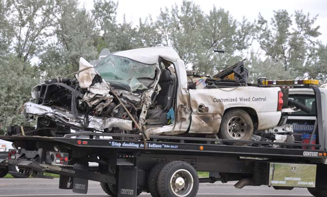 Dimolished pickup truck Fatal accident east of Berthoud