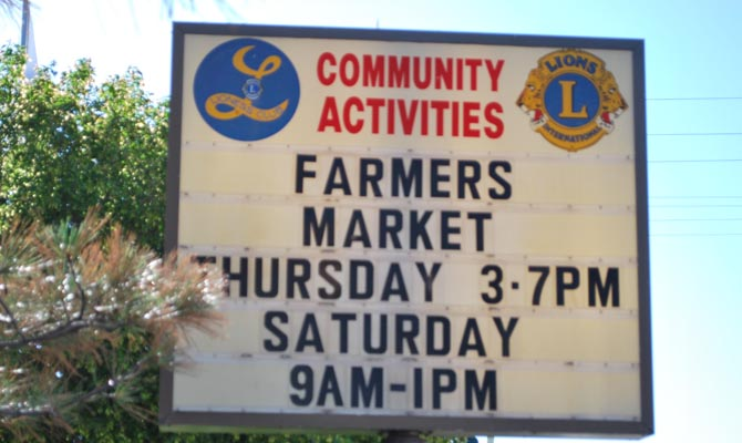 Farmers Market lions sign Farmers Market opens today