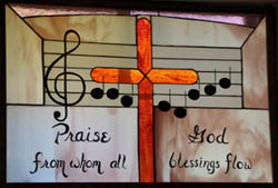 Stained Glass Window 2501 First Presbyterian Church sings farewell to Beth Sommers