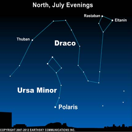 10jul04 430 Earthsky Tonight—July 4, Draco the Dragon on July evenings