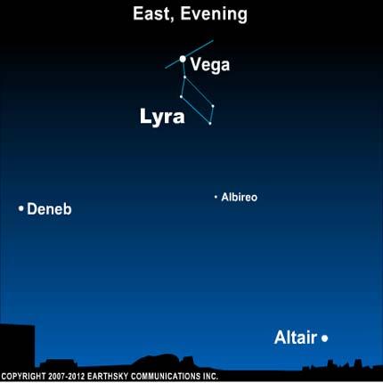 10jul12 430 Earthsky Tonight— July 12, Summer Triangle: Vega and its constellation Lyra