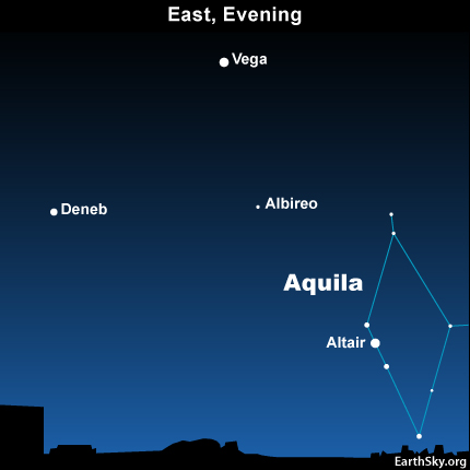 10jul19 430 Earthsky TonightJuly 19, Summer Triangle: Altair and Aquila the Eagle