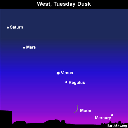 10july13 430 Earthsky TonightJuly 13, Young moon, Mercury sit close to horizon after sunset