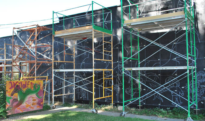 Wall Wildfire Mural takes shape