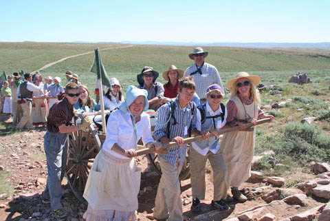 handcart Berthoud youths among 250 persons re creating pioneer trail trek