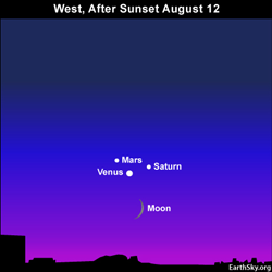 10aug12 2 430 Earthsky Tonight—August 12, Moon and Venus in evening, 2010 Perseid meteors before dawn