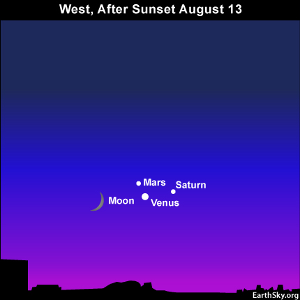 10aug13 430 EarthSky Tonight—August 13, Moon and Venus, more Perseid meteors, and two star clusters