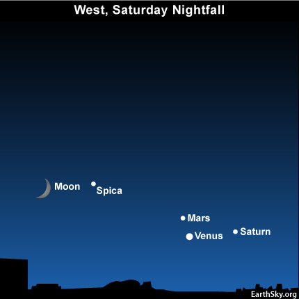 10aug14 430 EarthSky Tonight—August 14, Look for moon, Spica, Venus