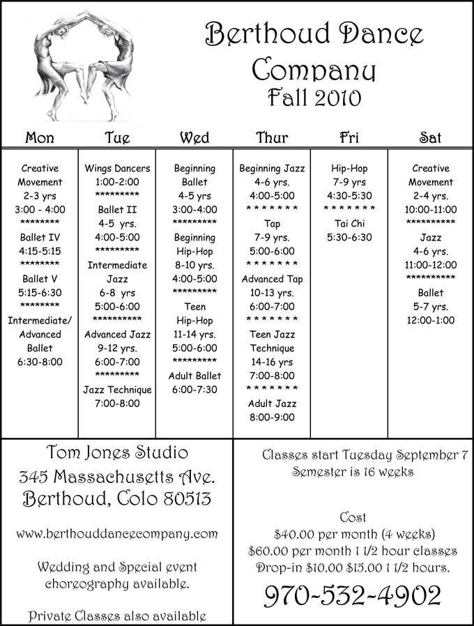 BDC 2010fallschedule Berthoud Dance Fall Schedule