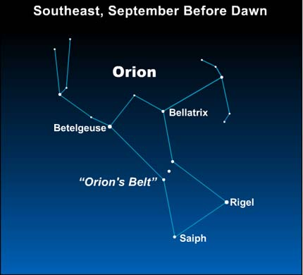 10sep04 430 EarthSky Tonight—Tonight  September 4,  Orion the Hunter well up before dawn in September