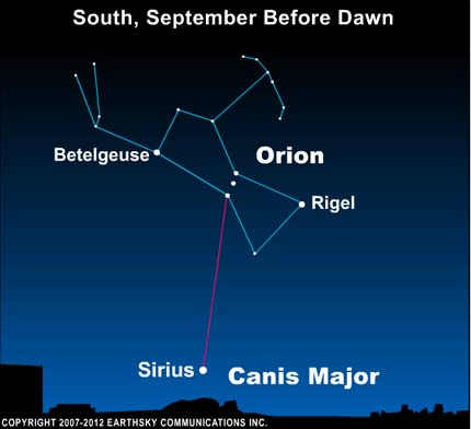 10sep06 4301 EarthSky Tonight—September 6, Star hop to Sirius from Orion's Belt